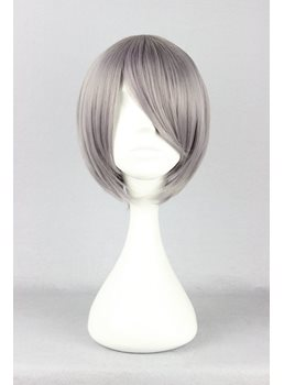 Corpse Demon Hairstyle Short Straight Mixed Gray Cosplay Wig 10 Inches