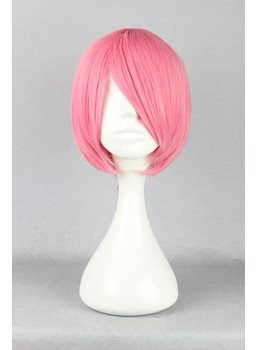 Katekyo Hitman Reborn Hairstyle Short Straight Pink Cosplay Wig 10 Inches