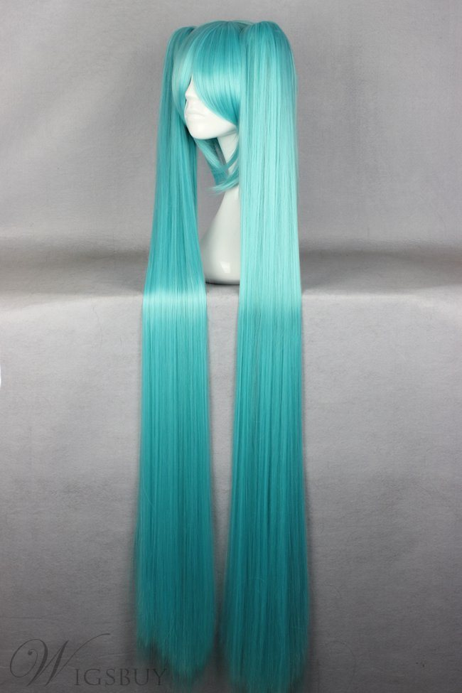 Miku Hairstyle Long Straight Acid Blue Cosplay Wig