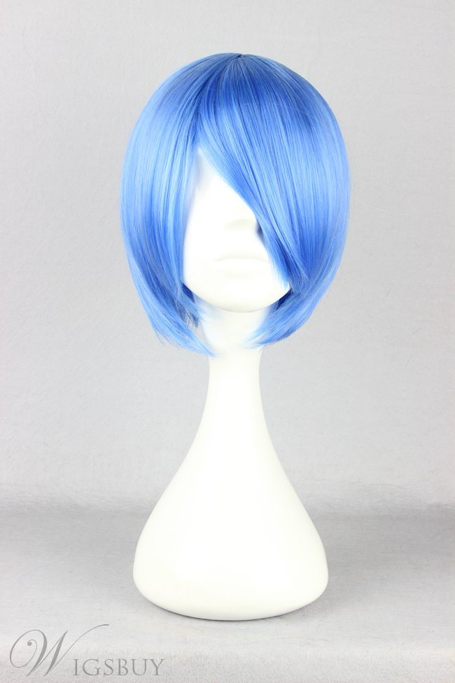Ayanami Rei Hairstyle Short Straight Dark Blue Cosplay Wig 10 Inches