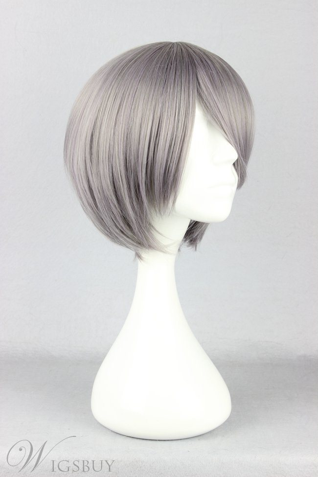 Salt and Pepper Corpse Demon Hairstyle Short Straight Mixed Gray Cosplay Wig 10 Inches