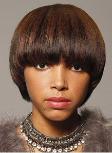 Pretty Young Short Straight Bob Hairstyle Synthetic Capless Wigs for Black Women