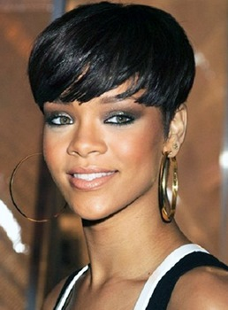 Rihanna Smart and Delicate Short Straight Bob Hairstyle Full Lace Wigs