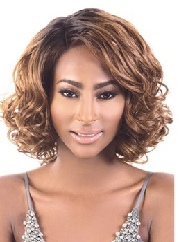 Chic Professional Custom African American Hairstyle Medium Curly Lace Front Wigs 12 Inches