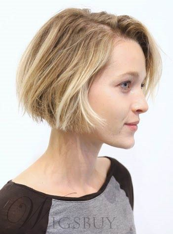 Fashionable Short Straight Hairstyle Lace Front Human Hair Wig 8 Inches