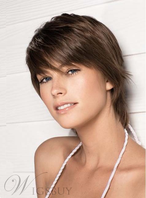 Enchanting short Straight Capless 100% Human Hair Wig