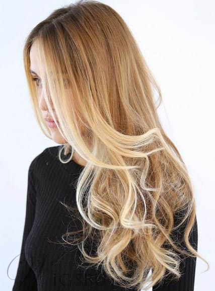 Stylish Long Bottom Deep Wave Lace Front Human Hair Wig 20 Inches