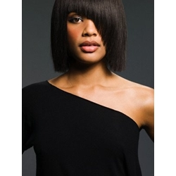 African American Popular Hairstyle Full Side Bang Medium Straight Synthetic Wigs 12 Inches