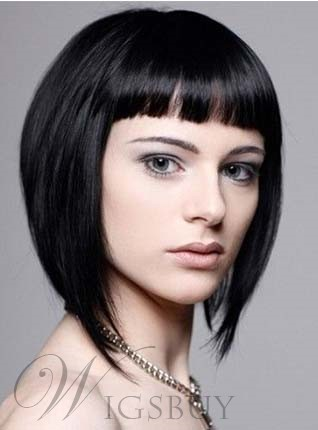 Youthful Short Straight Capless Human Hair Wig 10 Inches
