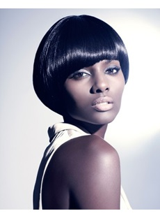 Classic Short Straight Bob Hair Style Smooth Capless Synthetic Wigs for African American Women