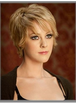 Fascinating Short Straight Monofilament Top 100% Human Hair Wig