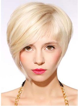 Stylish Short Straight Monofilament Top Synthetic Wig
