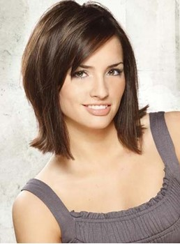 Top Quality Layered Straight Lace Front Human Hair Wig 12 Inches