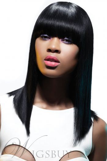 Smooth Exquisite Polished Medium Straight Capless 100% Human Hair Wigs 14 Inches
