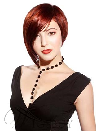 Stylish Short Straight Asymmetric Monofilament Top Human Hair Wig 8 Inches