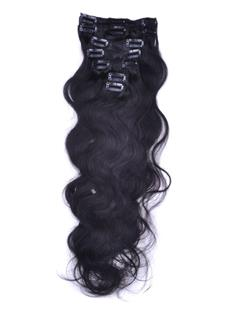 # 1B Nature Black 7 Piece Body Wave Clip In Indian Remy Human Hair Extension