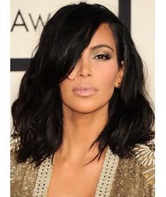 Kim Kardashian Fabulous Medium Loose Wave Lace Front 100% Human Hair Wigs 14 Inches
