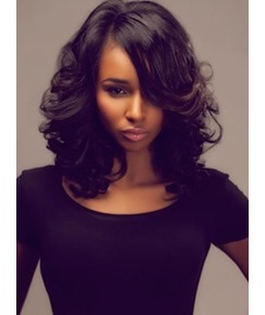 Medium Wave Lace Front Human Hair Wigs for Black Women