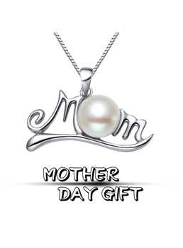 New Arrival 'Love Mom' 925 Sterling Silver Heart Shaped with Pearl Necklace Gift for Mother's Day