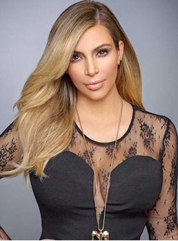 Celebrity Kim Kardashian Hairstyle 100% Human Hair Lace Front Wigs 16 Inches