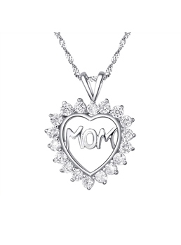 Mom in Heart' 925 Sterling Silver Heart Shaped with Crystal Necklace Gift for Mother's Day