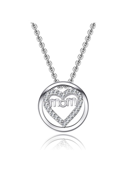 'Mom in Heart' 925 Sterling Silver with Crystal Necklace Gift for Mother's Day