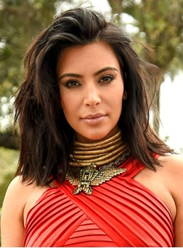Kim Kardashian Fashion Layered Medium Length Lace Front Wigs 14 Inches