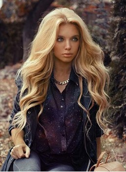 Gorgeous Long Deep Wave Lace Front 100% Human Hair Wig 26 Inches
