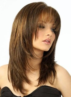 Women's Medium Layered Hairstyle Straight Synthetic Hair Capless Wig 16 Inches