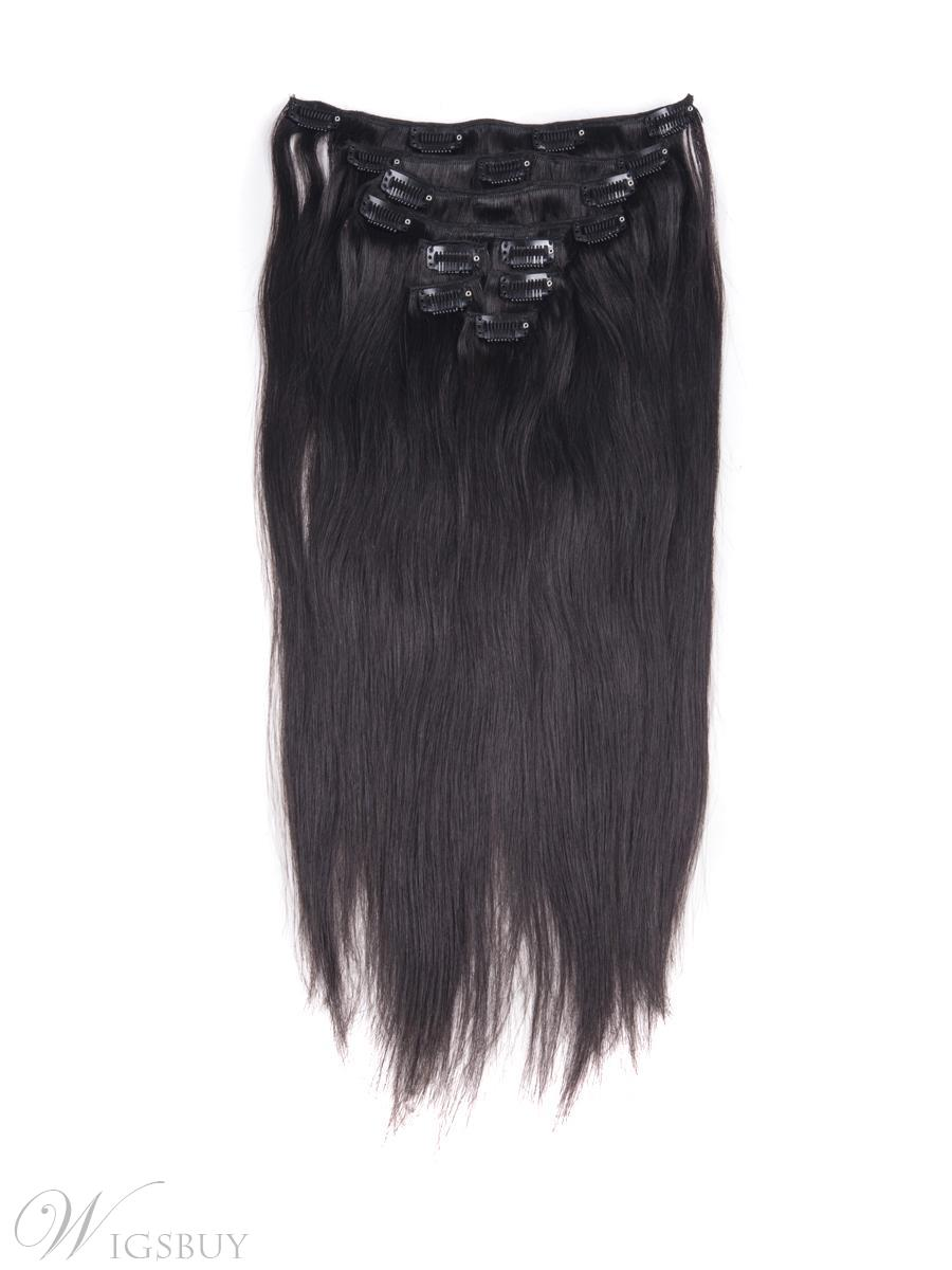1b Nature Black 9 Piece Silky Straight Clip In Indian Remy Human