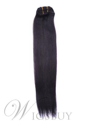 1B# Nature Black 7 Piece Silky Straight Clip In Indian Remy Human Hair Extension 12 Inches