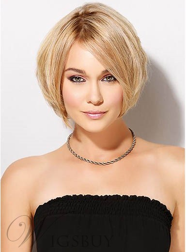 Stylish Short Straight Lace Front Human Hair Wig 10 Inches