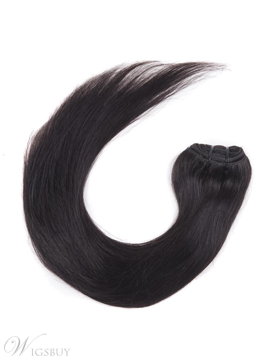 # 1B Nature Black 9 Piece Silky Straight Clip In Indian Remy Human Hair Extension 12 Inches
