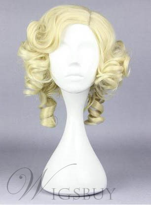 New Arrival Cosplay Medium Curly Light Golden Synthetic Hair Wig