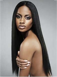 African American Silky Long Straight Synthetic Lace Front Wigs 22 Inches