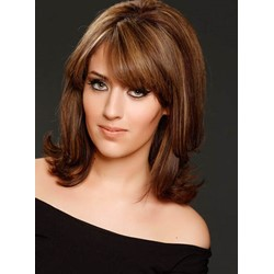 Comfortable Medium Straight Full Lace Human Hair Wig 14 Inches