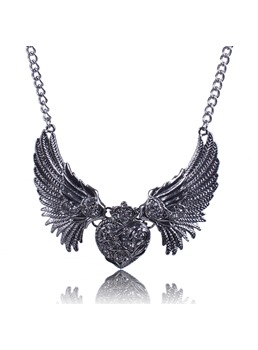 Fashion Heart & Wings Alloy Necklace