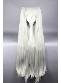 Long Straight White Cosplay Wig with Ponytails