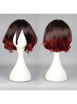 Mutsuki Short Curly Mixed Brown and Red Cosplay Wig