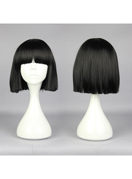 Gugure Short Straight Black Cosplay Wig