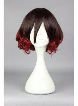 Mutsuki Short Curly Mixed Brown and Red Cosplay Wig 3ab2f499ac