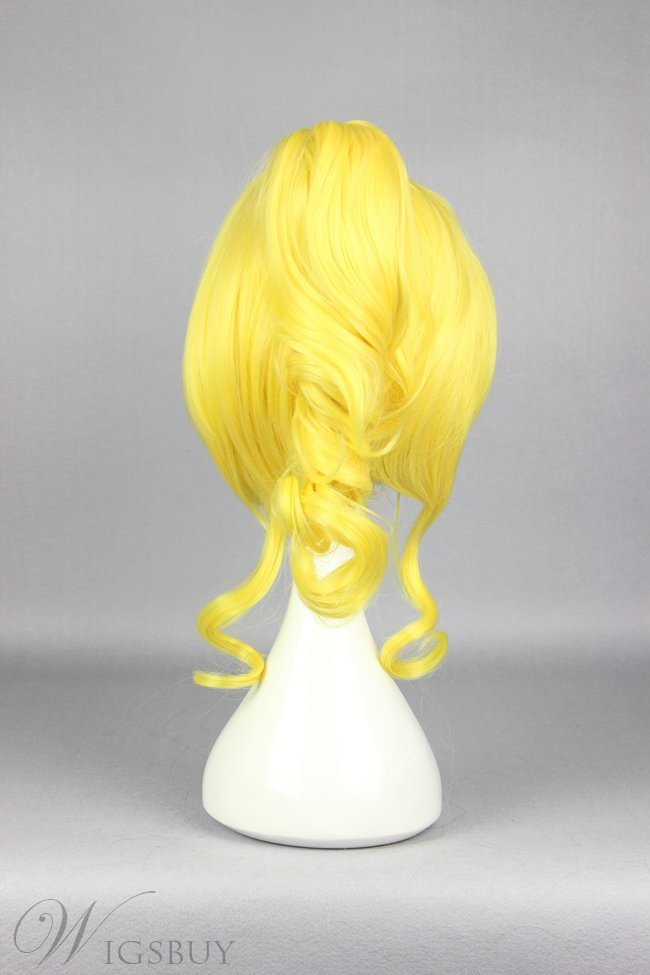 New Arrival Short Straight Golden Love Live Cosplay Wig with Ponytail