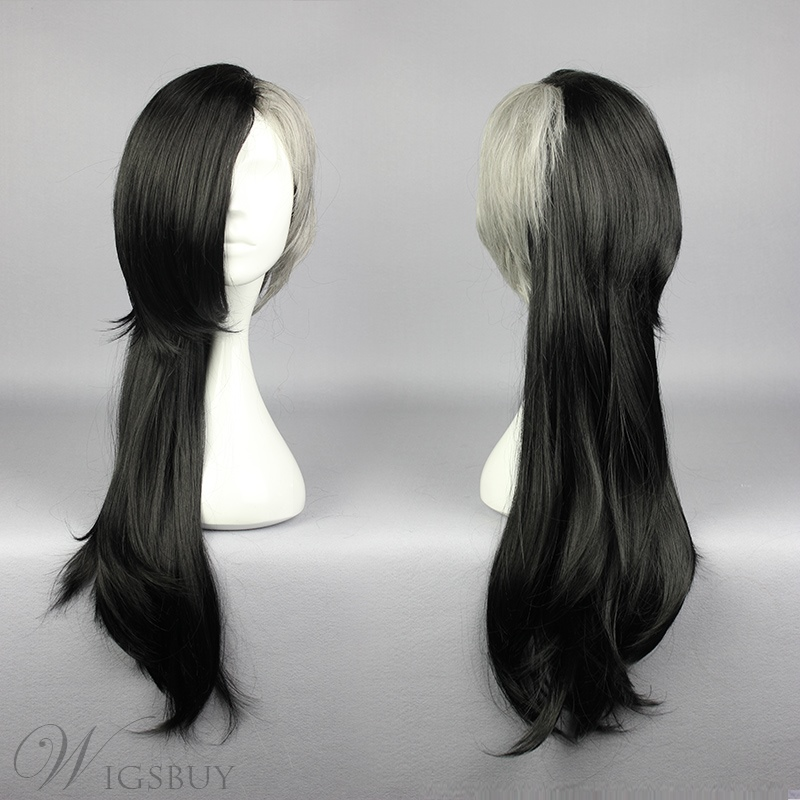 Long Straight Asymmetric Mixed Color Cosplay Wig