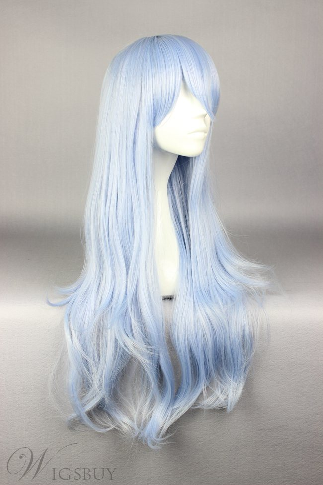 Long Deep Wave Light Blue Cosplay Wig