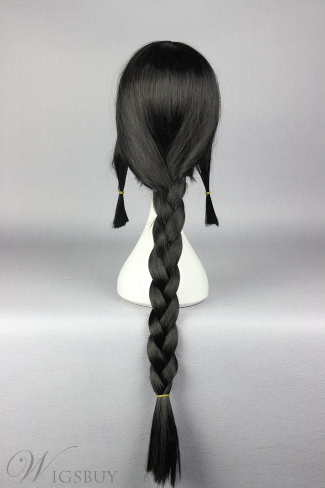 Long Braided Black Cosplay Wig
