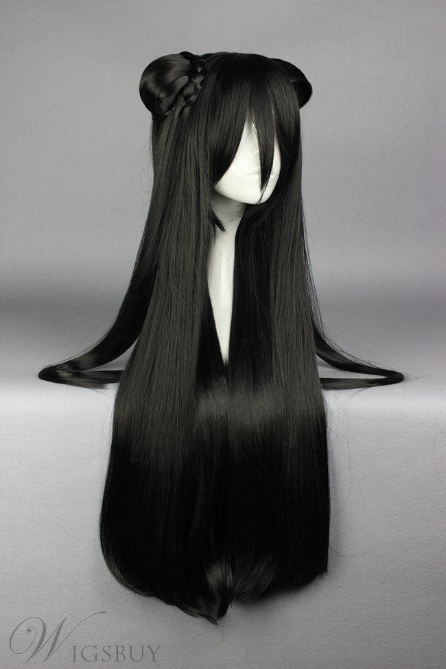 Super Long Straight Black Cosplay Wig with Ponytails