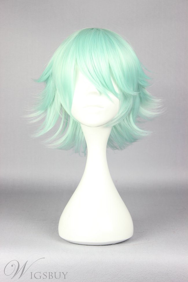 Medium Layered Straight Light Green Cosplay Wig