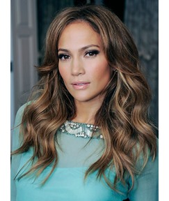 Jennifer Lopez Charming Side Parting Hairline Long Loose Wave Human Hair Lace Front Wigs 18 Inches