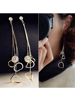 Geometrical Pendants Decorated Drop Earrings