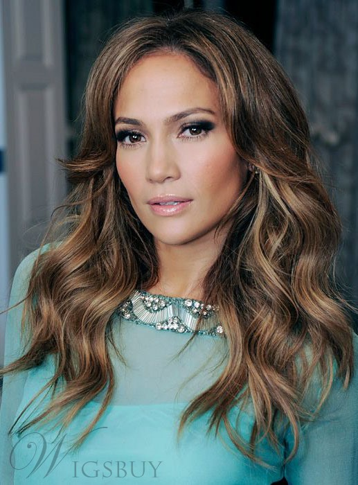 Jennifer Lopez Charming Middle Parting Hairline Long Loose Wave Human Hair Lace Front Wigs 18 Inches